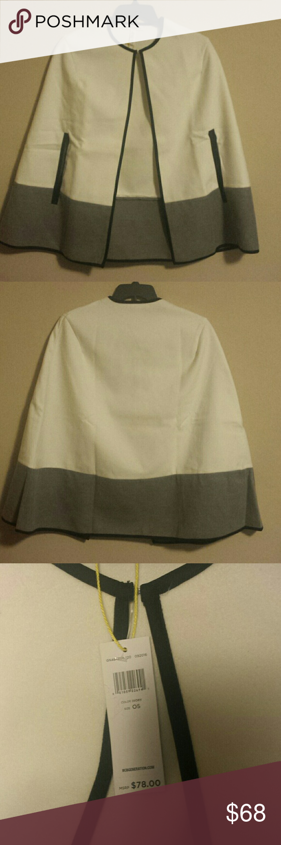 Cape crusader(accepting offers) Stylish color blocked cape.. Tags still attached BCBGeneration Jackets & Coats Capes