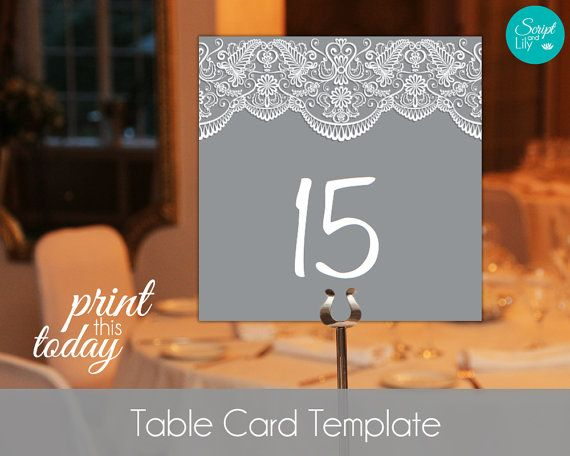 Lace Table Number Card Template FREE Color Change Instant - free card templates for word