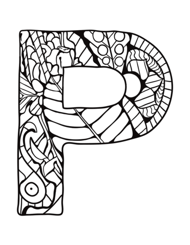 Letter P Zentangle Coloring Page From Zentangle Alphabet Category Select From 30586 Printable Crafts Of Ca Owl Coloring Pages Alphabet Coloring Coloring Pages
