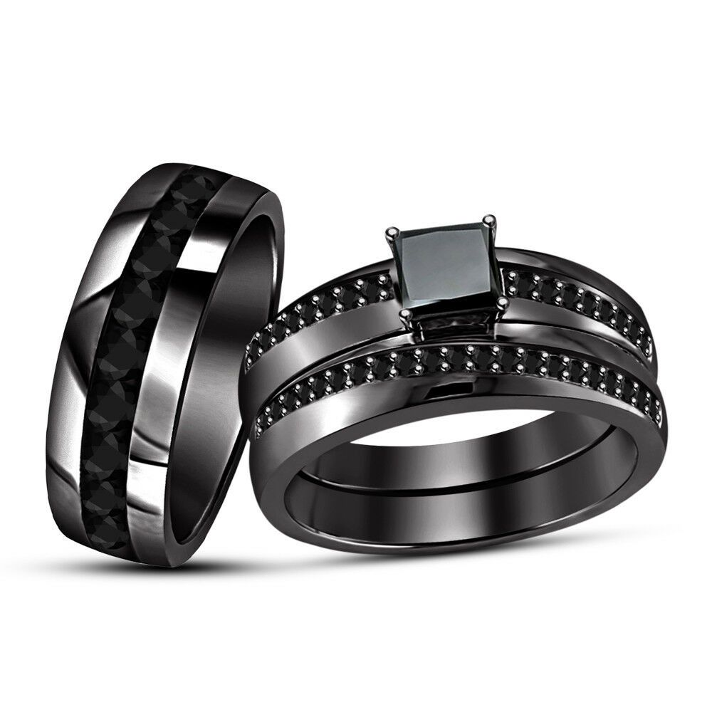 14k black gold over his hers 200 ct diamond engagement