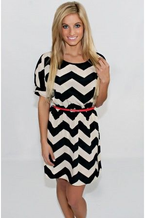 With A Pop Of Red Chevron Dress