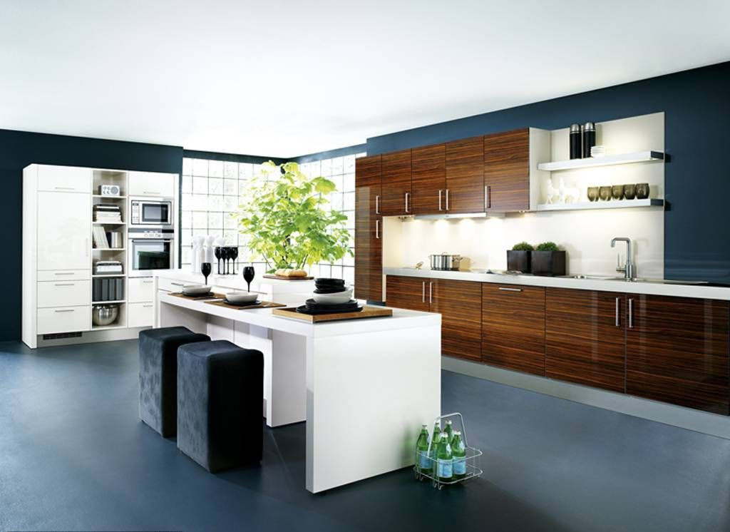 Modern Kitchen With Wooden Accent Cabinets White Small Island ...
