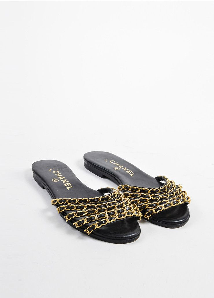 1daf578e731 Black Leather Chanel Gold Toned Metal Chain Link Strappy Flat Sandals