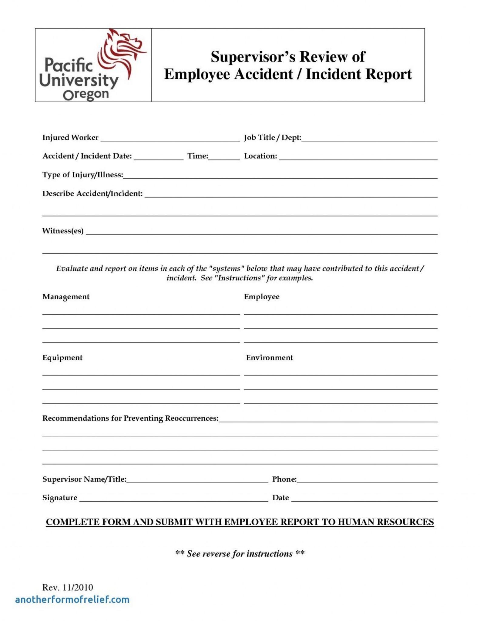 Generic Incident Report Template New Hr Form Manqal Hellenes Co