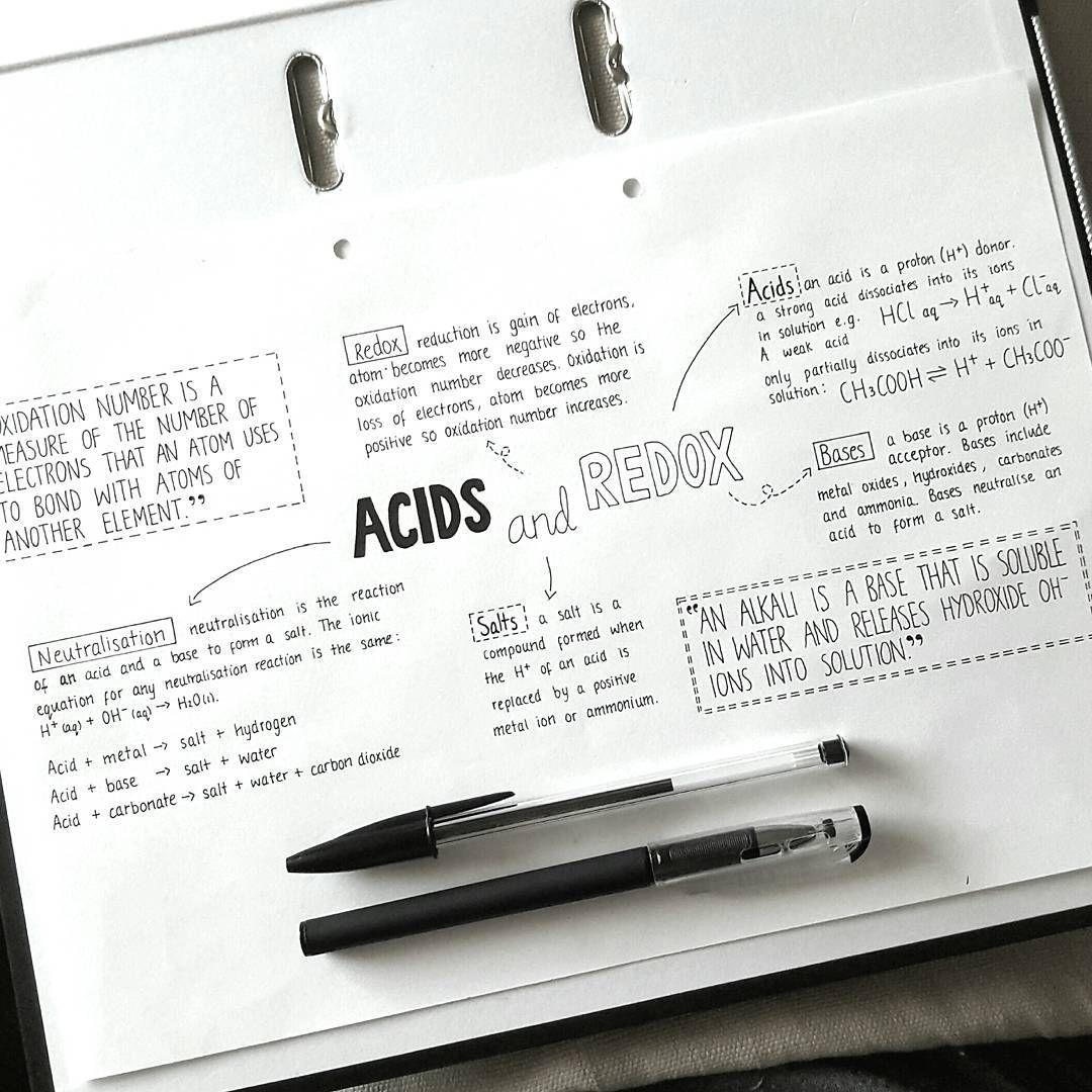 "64 tykkäystä, 2 kommenttia - Hannah Cerise (@hannah_cerise) Instagramissa: ""Acids and redox mind map for chemistry #studygram"""