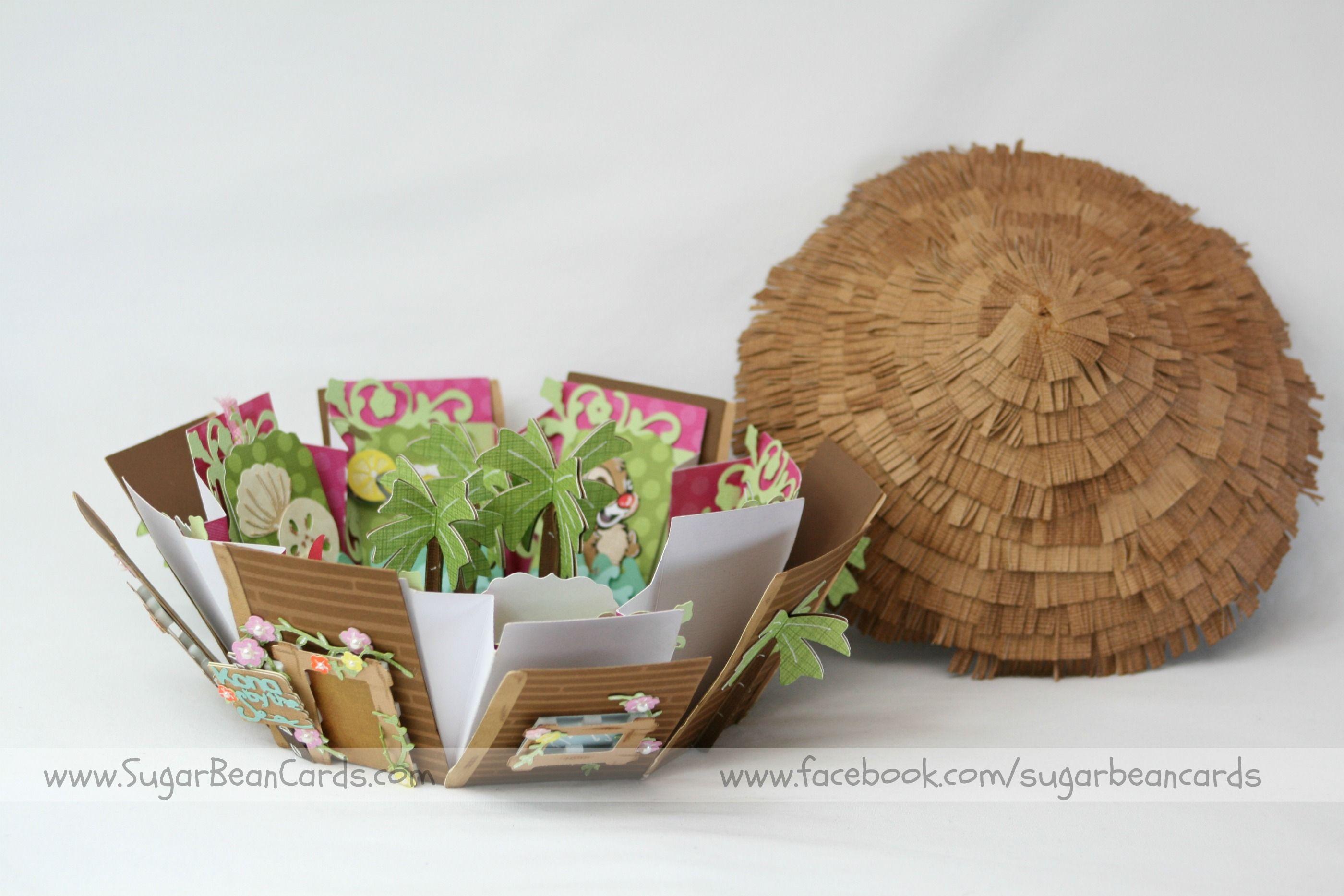Octagon Tahitian beach hut exploding box. Sugar Bean Cards