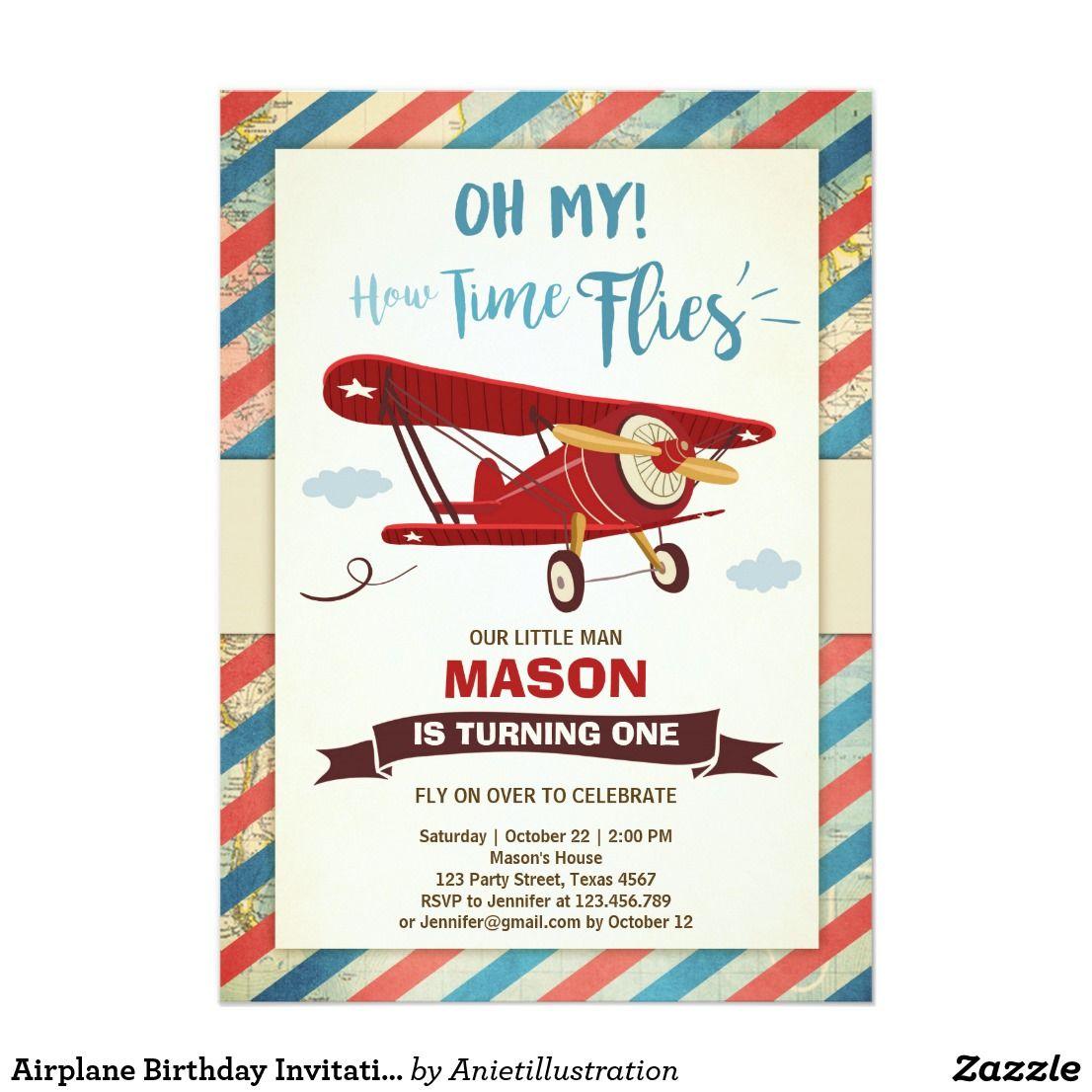 Airplane Birthday Invitation Time Flies Plane Boy Zazzle Com Airplane Birthday Party Planes Birthday Airplane Birthday