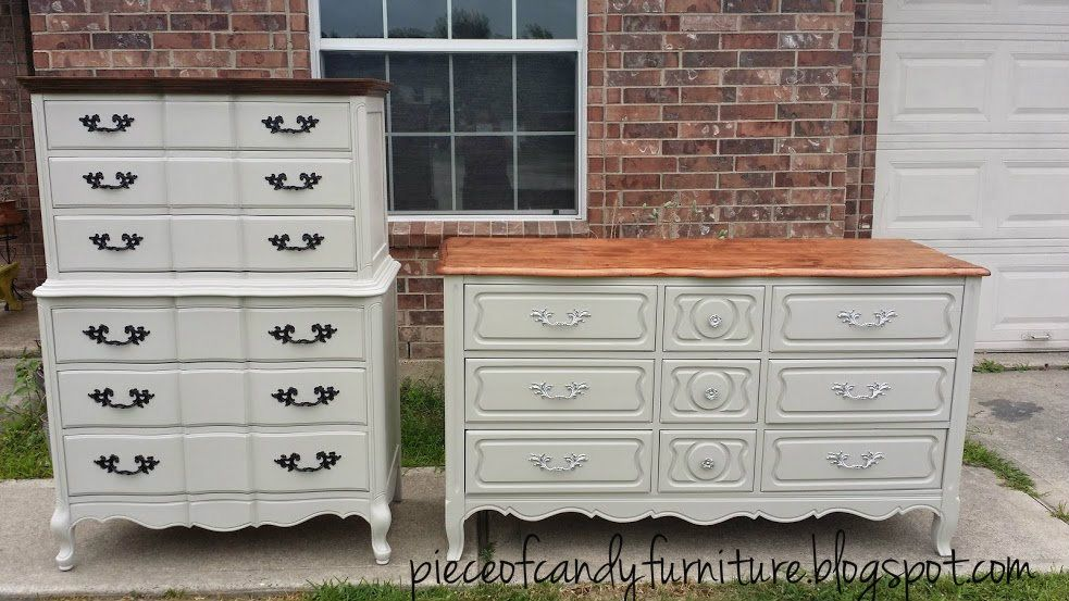 Merveilleux French Provincial Highboy Chest Painted In Revere Pewter With Natural Wood  Top And High Gloss Black Handles. The Triple French Dresser Is In Revere  Pewter ...