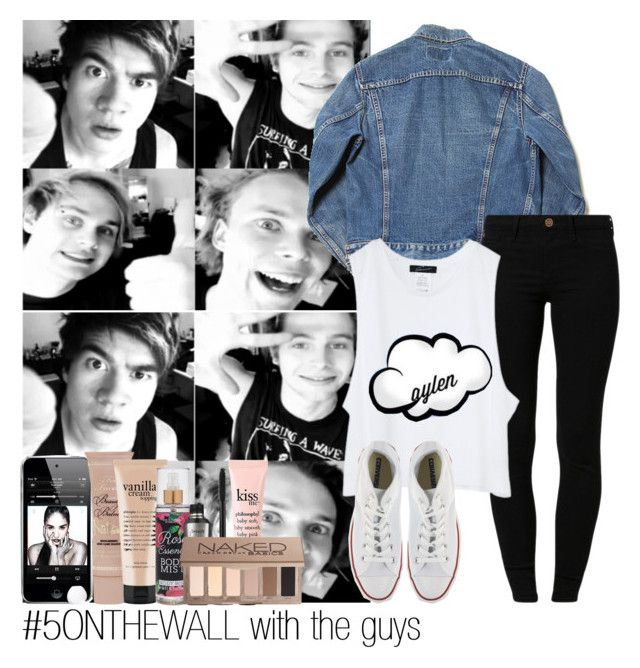 """""""#5ONTHEWALL with the guys"""" by rowenafsouriya ❤ liked on Polyvore featuring River Island, Converse, Too Faced Cosmetics, philosophy, Forever 21, Benefit and Urban Decay"""