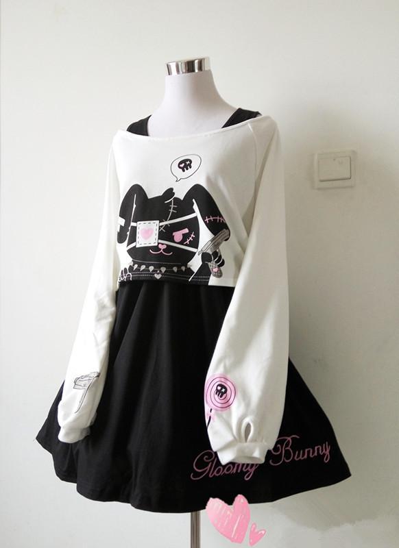 294f891b20614 Japanese cartoon rabbit cherry blossom two-piece dress from Fashion ...