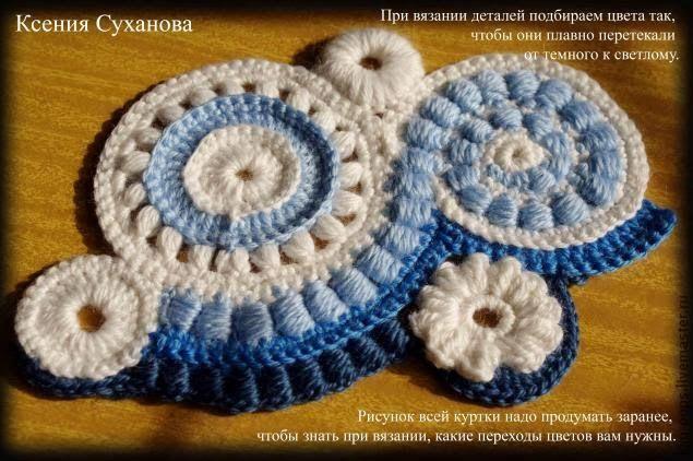 Chaqueta de crochet irlandés o ruso con paso a paso,   Crochet ...