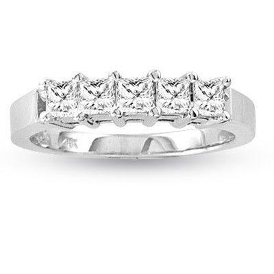 14k Gold 0.50ct tw Five Princess Cut Diamond Band G-H VS