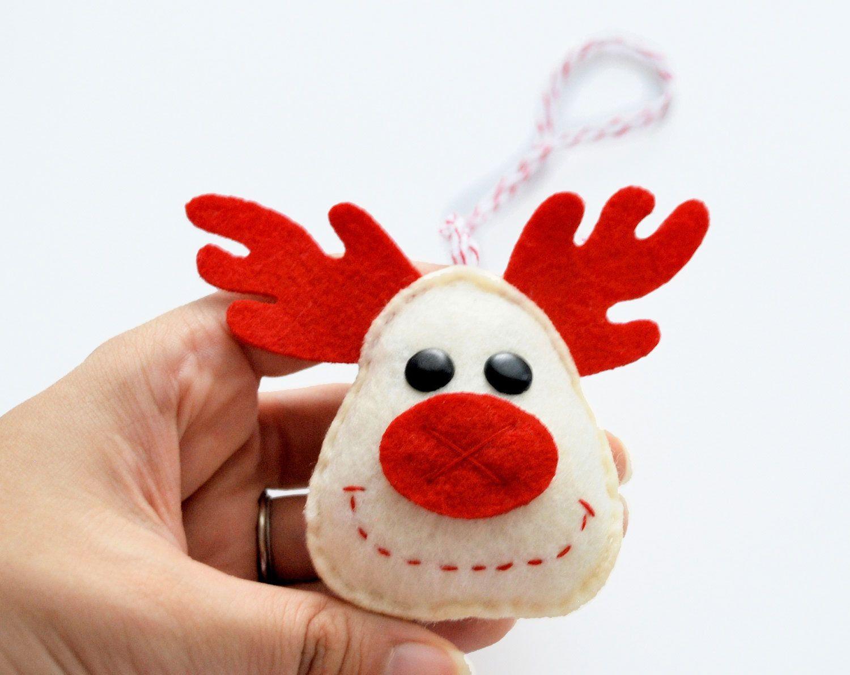 Felt Reindeer Christmas Ornament Rudolph Big Nose Felt Reindeer Ornament A208 8 50 Via Etsy Felt Christmas Ornaments Christmas Ornaments Felt Christmas