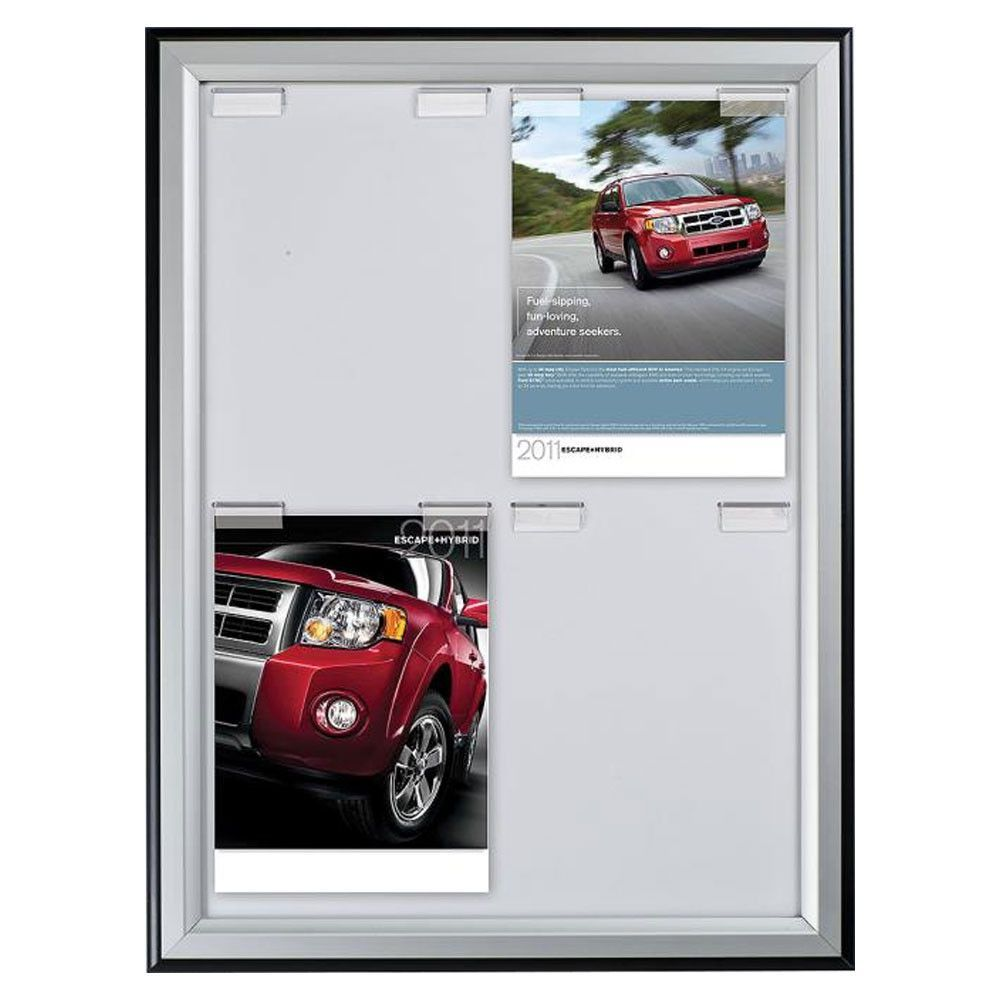 Board Frame Four 8.5x11 Poster Capacity Outer Black/Inner Silver Color Profile Mitred Corner