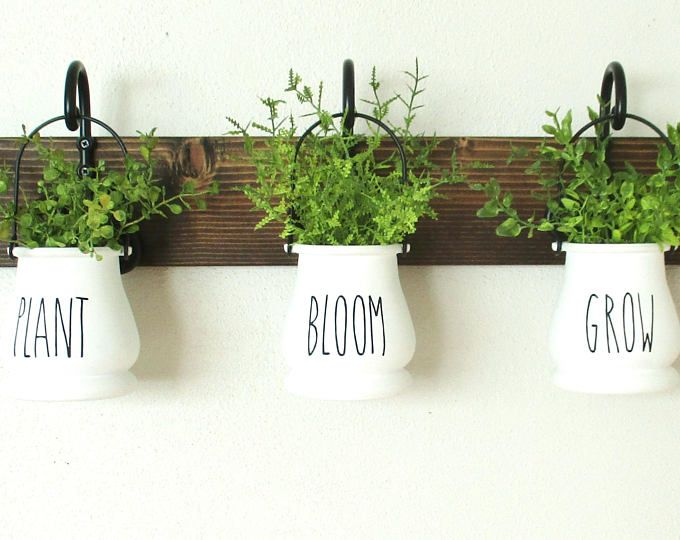Rae Dunn Inspired Hanging Flower Pots On Stained Board Plant Bloom Grow Hanging Jar Wall Decor Chic Farmhouse Garde Hanging Flower Pots Flower Pots Herb Pots
