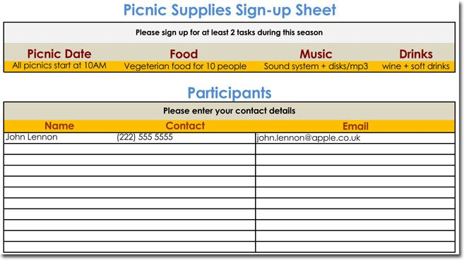 Free picnic signup sheet for Excel Free List Templates - contact list excel template