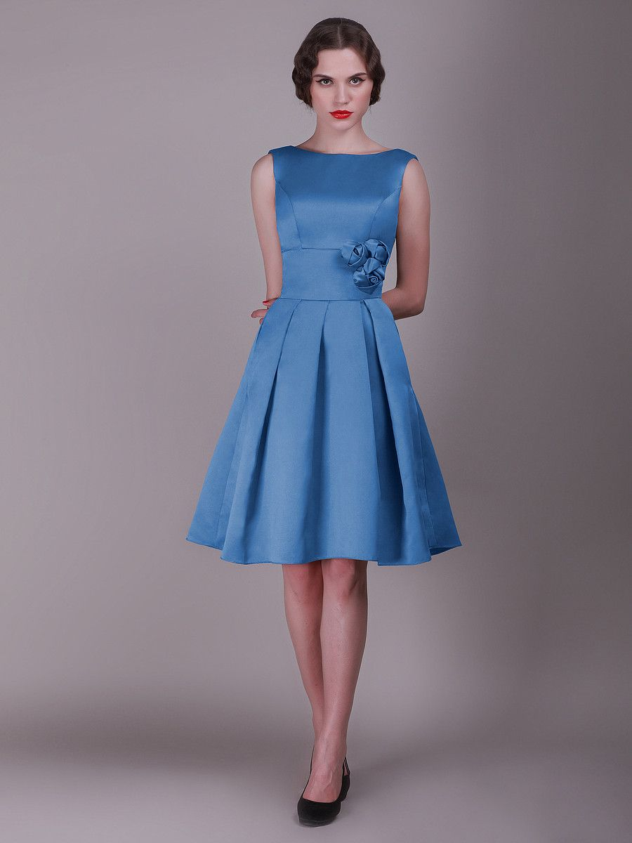 Vintage Bridesmaid Dress with Pleated Skirt and Rose Details | Plus ...