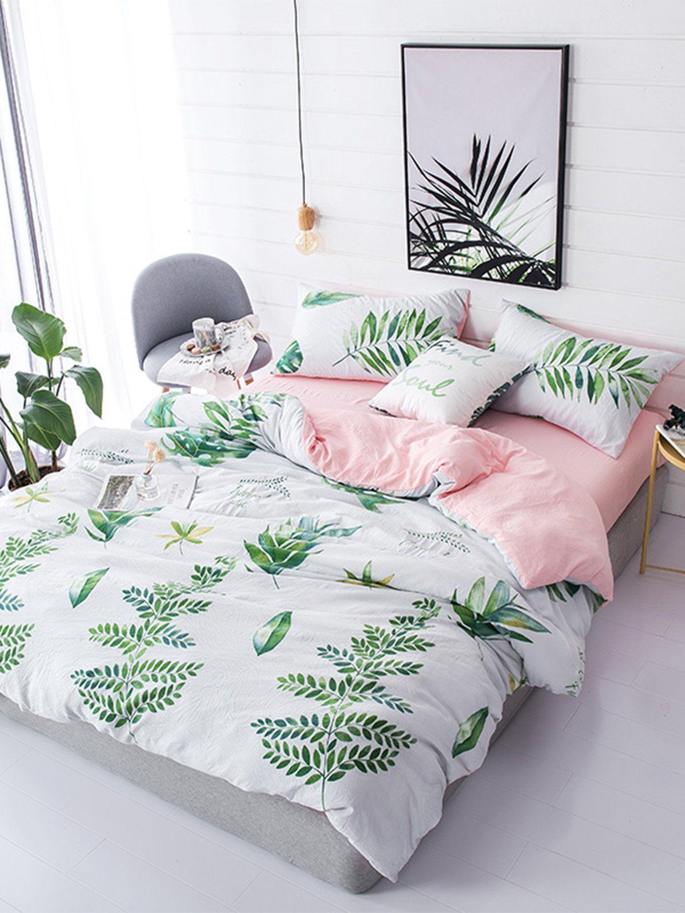 Leaf & Letter Print Sheet Set Tropical bedroom decor