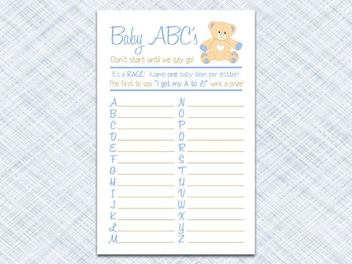 Baby Shower Game Printable Instant Download Baby Boy Shower Game