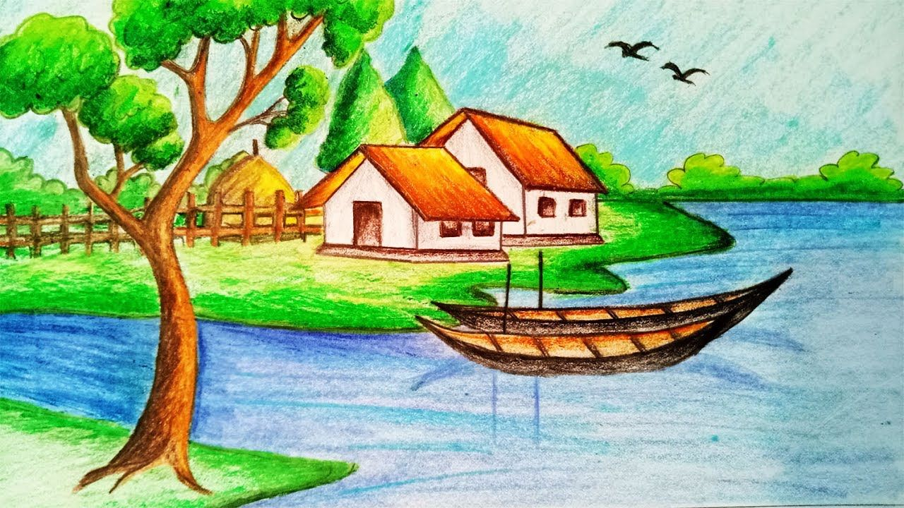 How to draw Riverside Village Scenery.Step by step(easy ...