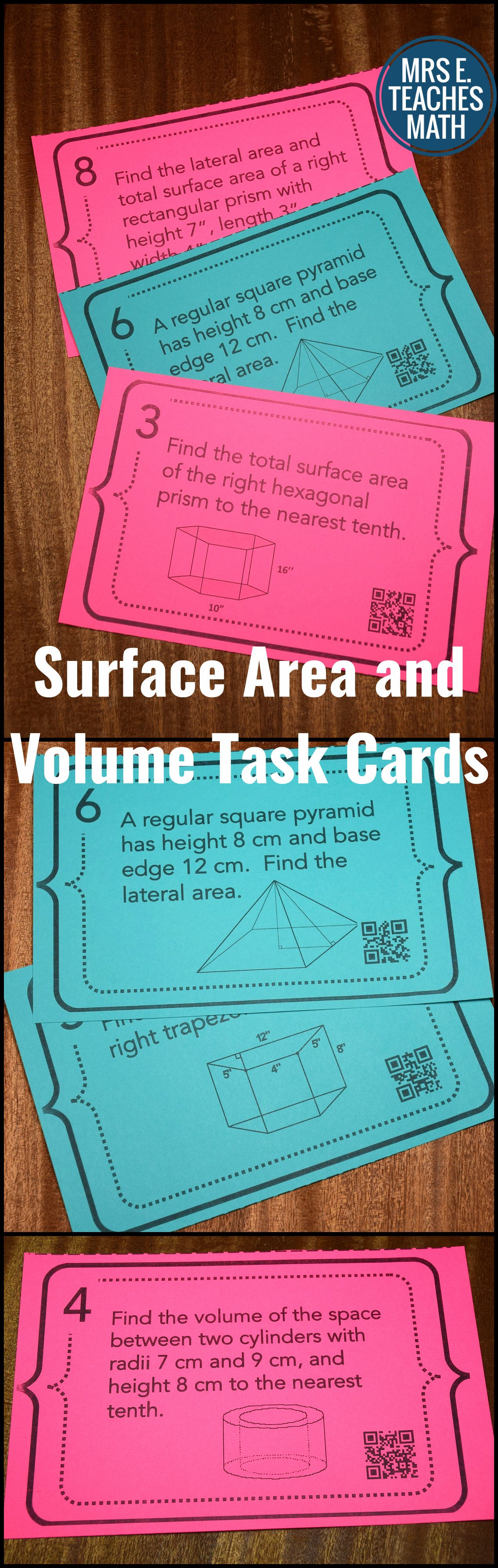 surface area and volume task cards math grades 7 12 teaching geometry geometry activities. Black Bedroom Furniture Sets. Home Design Ideas