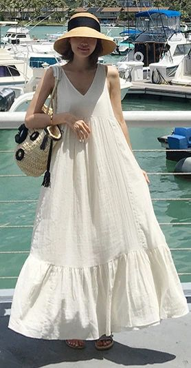 Natural sleeveless patchwork cotton quilting dresses Work white Maxi Dresses