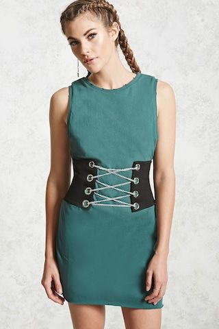 a stretch knit corset featuring chain laceup grommets