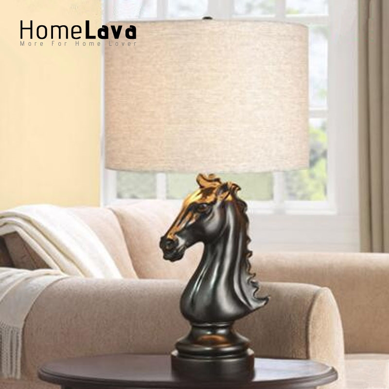 89.99$  Buy now - http://alijtc.worldwells.pw/go.php?t=32691554115 - Handmade Art Decor Luxury Retro Black Horse Resin Table Lamp Fabric Lampeshade Led Desk Lamp lamparas de mesa Reading Lights 89.99$