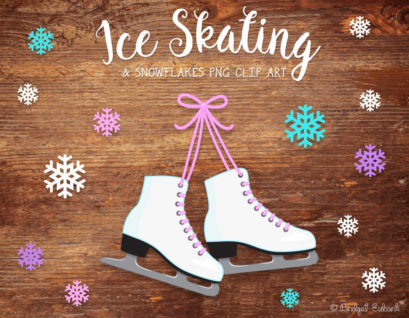 Ice skating clipart ice skates clipart snowflakes