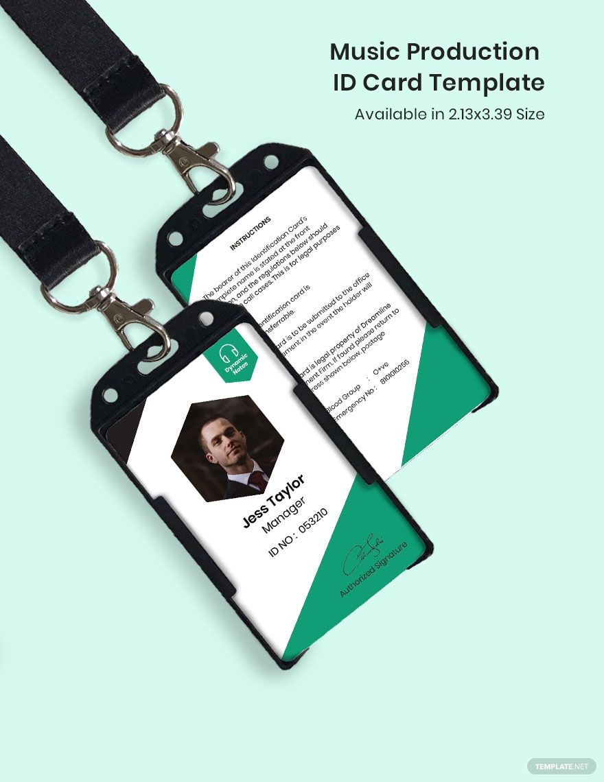 Music Production Id Card Template Word Psd Indesign Apple Pages Illustrator Publisher Id Card Template Card Templates Free Card Template