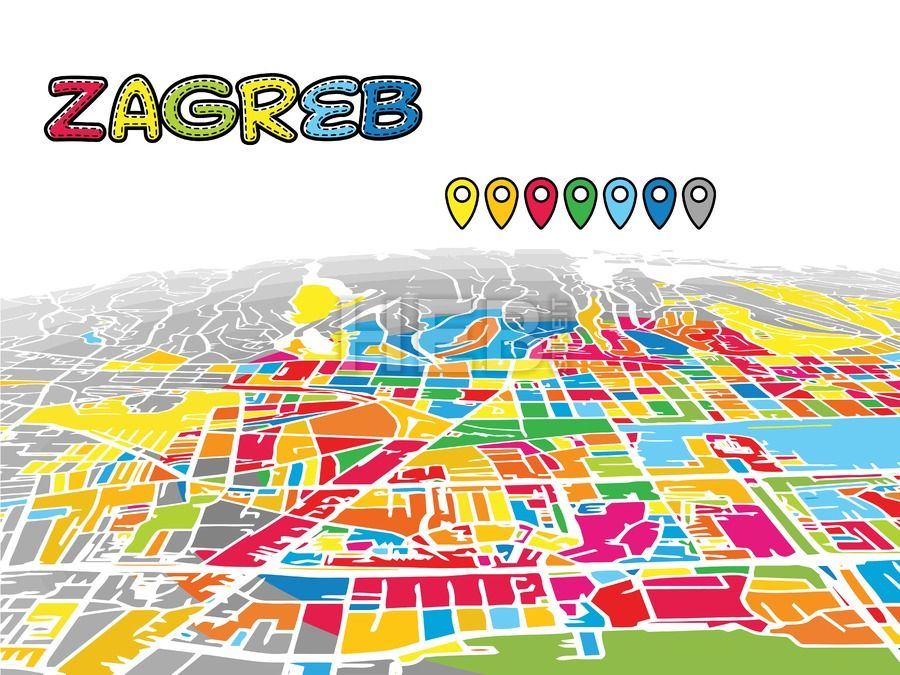 Zagreb Croatia Downtown Map In Perspective Streit