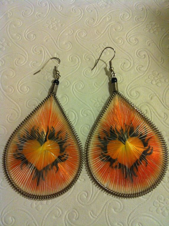 Painted Silk Picture Earrings Large by JewelryPlusDesigner on Etsy, $14.00