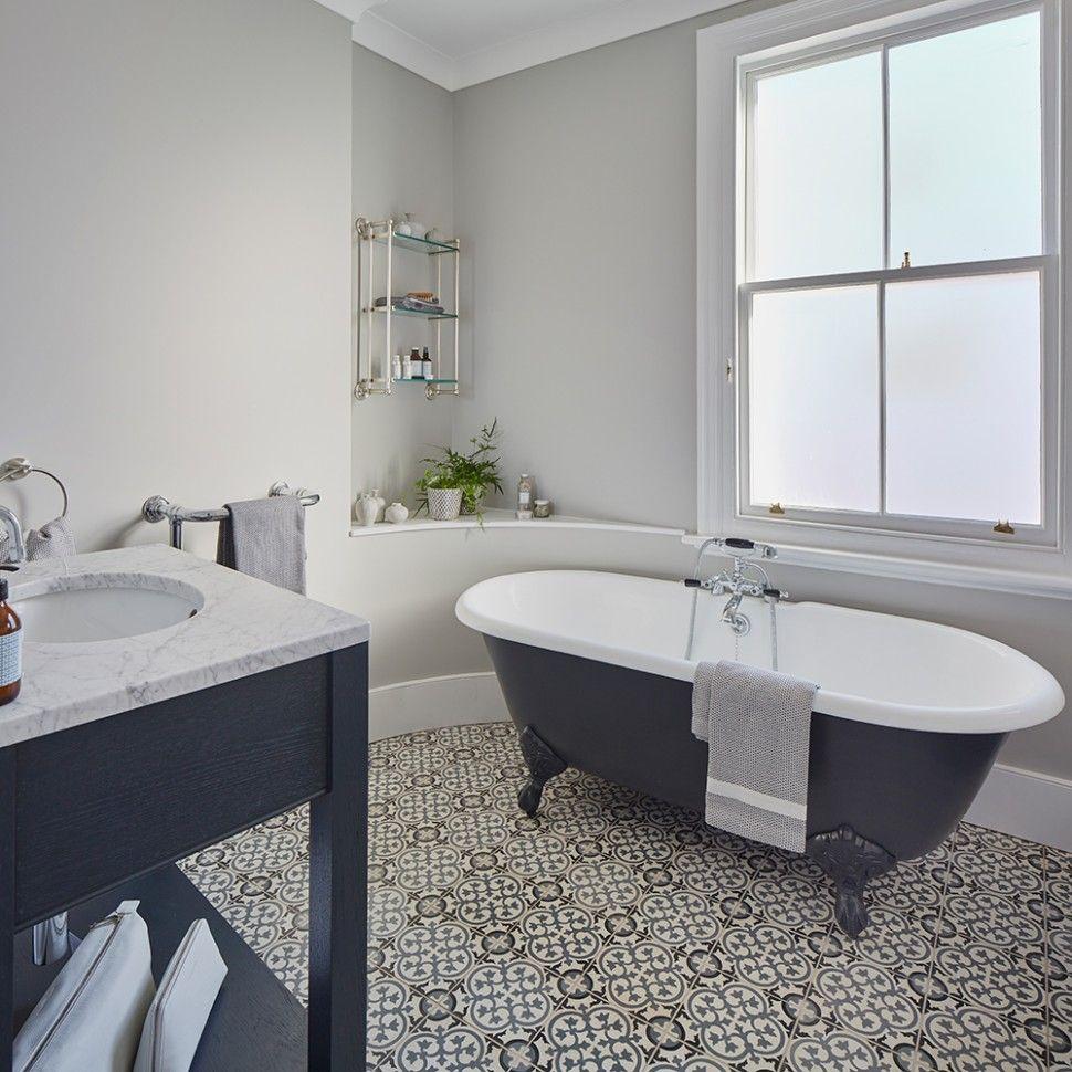 B Q Bathroom Tiles In 2020 With Images Roll Top Bath Monochrome Bathroom Bathroom Makeover