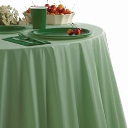 Table Covers For Round And Octagonal Tables Like This Green Plastic Example Shown With Coordinating Tableware