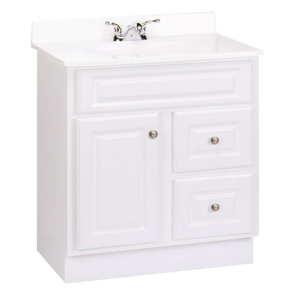 Glacier Bay Hampton 30 In W X 21 In D X 33 5 In H Vanity Cabinet Only In White Hwh30d At The Home Depot 219 Home Depot Bathroom Vanity