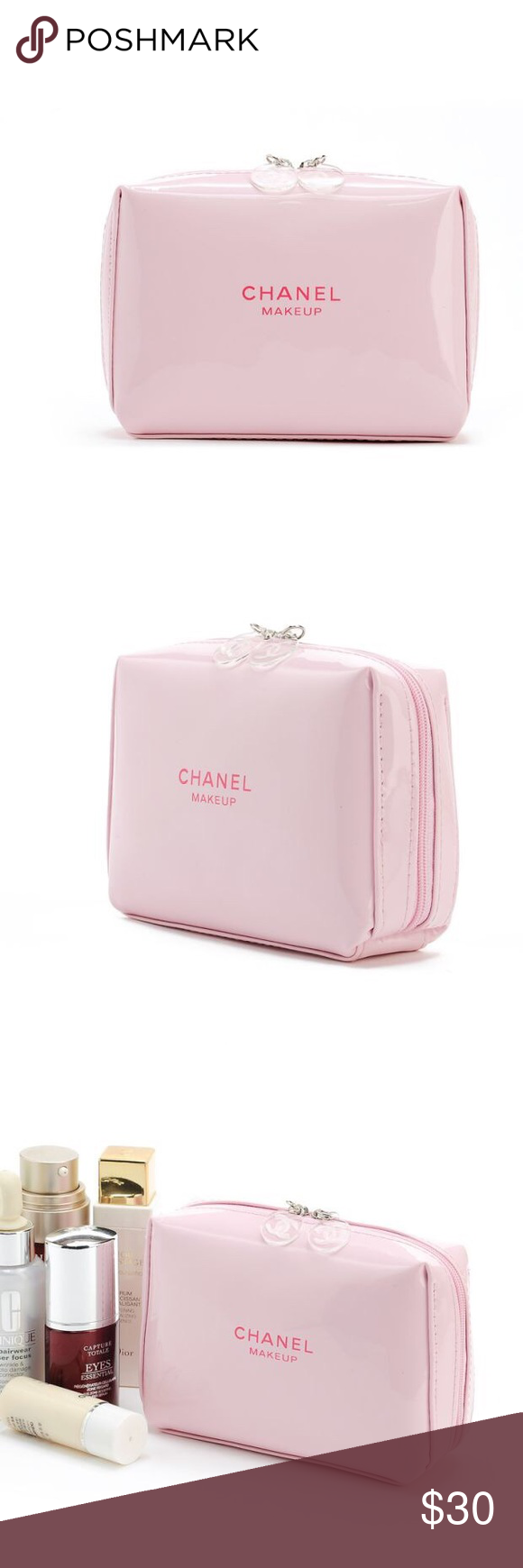 Auth Chanel gift pink patent cosmetic bag Authentic Chanel