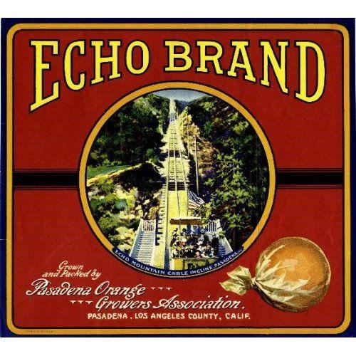 Pasadena Mt Lowe Echo Mountain Incline #2 Orange Citrus Fruit Crate Label Print
