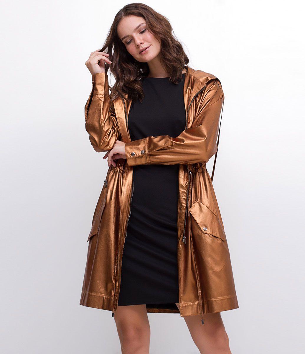 Jaqueta feminina modelo Parka metalizada  81899ebde59