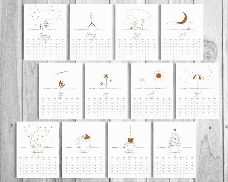2020 Printable Desk Calendar Minimal Printable Calendar Art