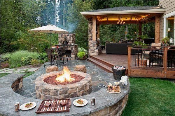100 Gartengestaltung Bilder Und Inspiriеrende Ideen Für Ihren Garten    Gartengestaltung Exterior Designideen Stienpflaster Feuerstelle