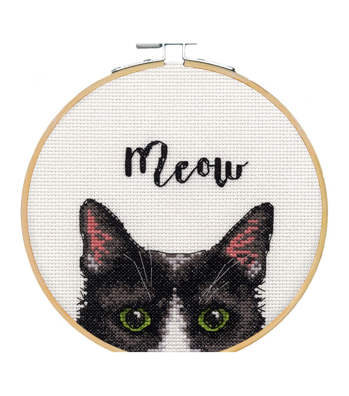Photo of Dimensions Counted Cross Stitch Kit with Hoop 6″ Meow | JOANN