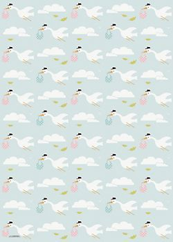 Stork Baby Shower Wrapping Paper Paper Source Invite Stuff