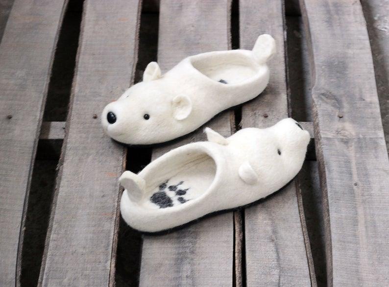 Polar bear unisex slippers white arctic bear snow handmade