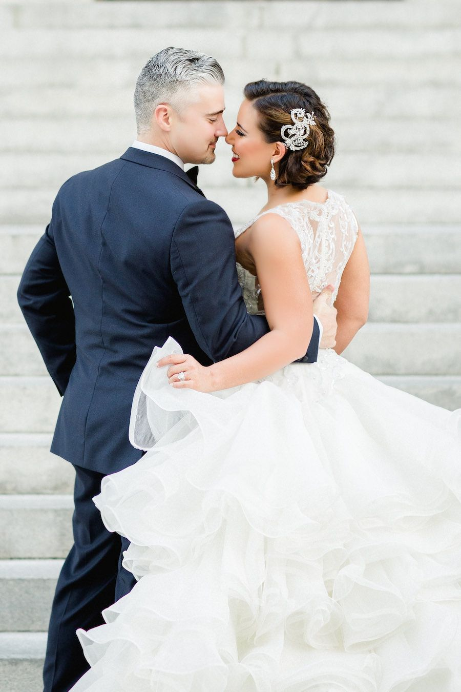Tampa Bride And Groom Wedding Portrait In Ivory Mermaid Ines DiSanto Dress From Isabel O