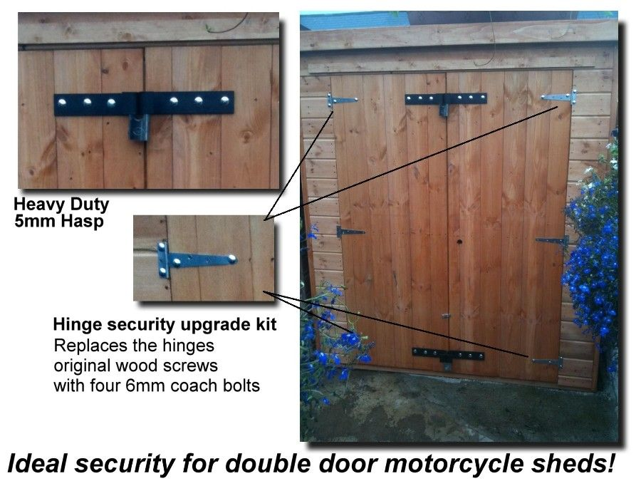 Heavy Duty Shed Security Hasp & Hinge Security Upgrade kit