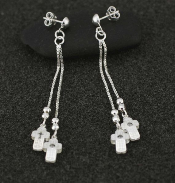 Sterling Silver Cross Dangle Earrings By Alyssasdreams