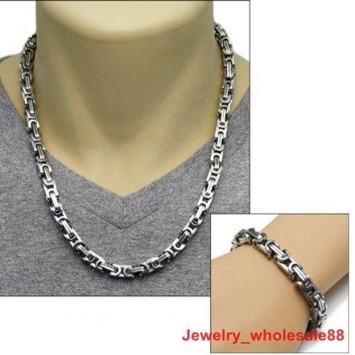 Men/'s Jewelry Stainless Steel Silver Black Byzantine Chain Necklace/&Bracelet Set