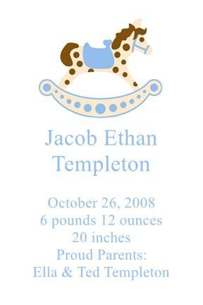 Printable Birth Announcement with Rocking Horse (Digital Download) by PerfectedbyGrace on Etsy
