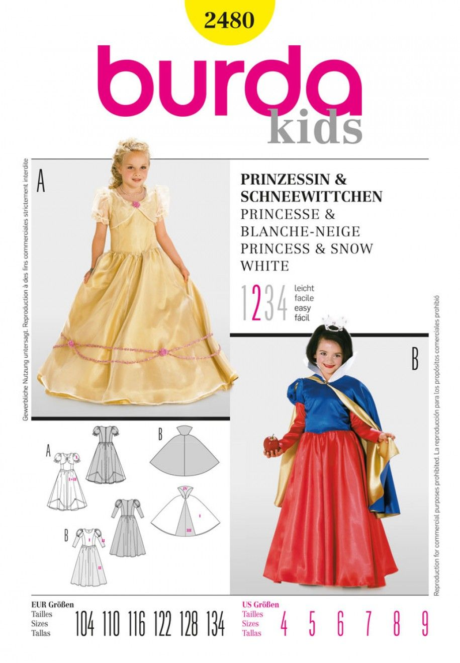 Burda Style B2480 Princess & Snow White Sewing Pattern | Patrones de ...