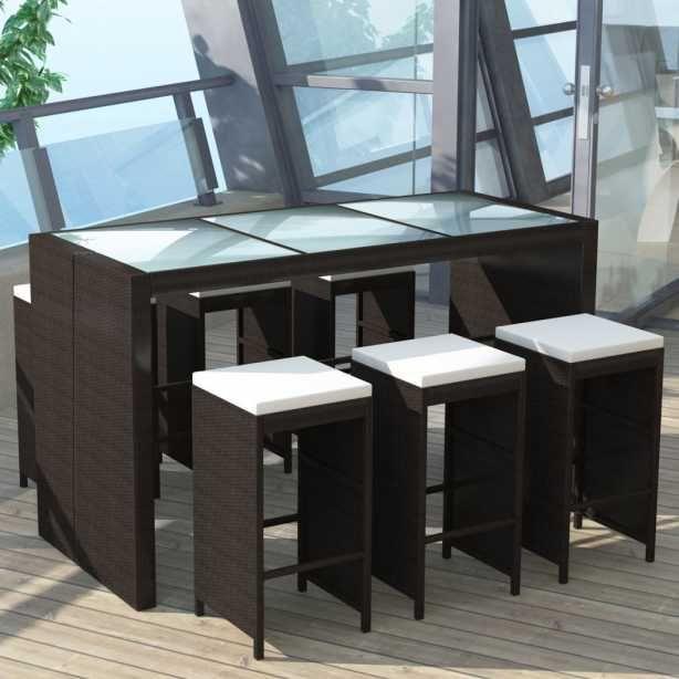 Poly Rattan Barset Bartisch + 6 Barhocker ! Sitzgruppe Gartengarnitur Garten  Garnitur Outdoor Lounge Möbel Gartengarnituren